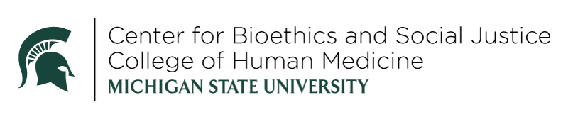 Green Spartan helmet with text: Center for Bioethics and Social Justice, College of Human Medicine, Michigan State University