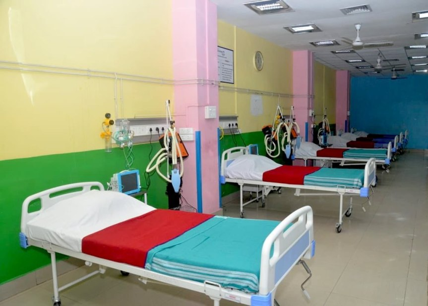 A row of empty beds in a hospital ward in Assam, India in response to the 2020 COVID-19 pandemic